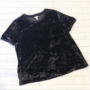 A New Day Navy Crushed Velvet Relaxed Fit T-Shirt